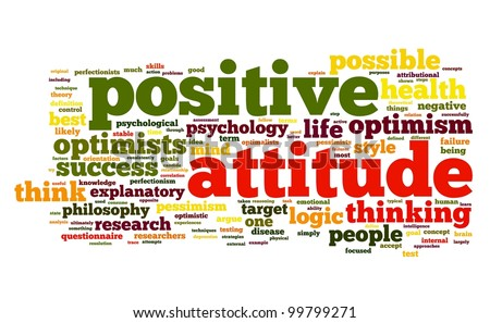 Positive attitude concept in word tag cloud on white background - stock photo