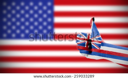 Positive attitude of Hawaii for USA - stock photo