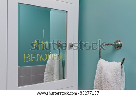 Positive body image in mirror