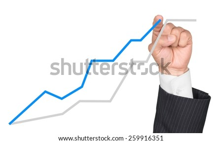 positive business chart or stock quotation on white - stock photo