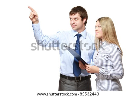 Positive business couple isolated - stock photo