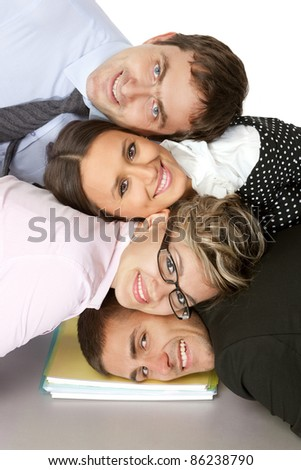 Positive business team express unity and cooperation - stock photo