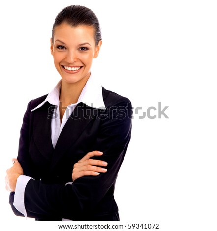 Positive business woman smiling over white background - stock photo