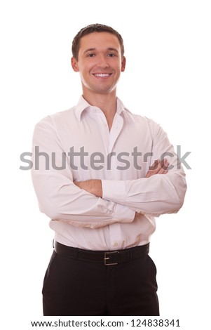 positive businessman arms folded looking at camera on white background