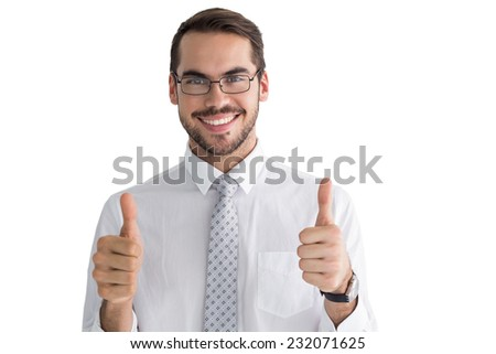 Positive businessman posing with thumbs up on white background