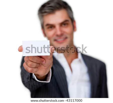 Positive businessman showing a white card against a white background - stock photo