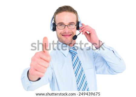 Positive businessman with headset end thumb up on white background - stock photo