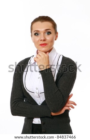 Positive businesswoman against white background isolated - stock photo