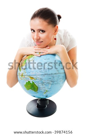 Positive calm woman lay on the globe and smile, isolated on white