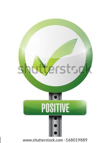 positive check mark road sign illustration design over a white background - stock photo