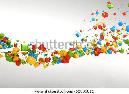 Positive Cubes Abstract Background - stock photo
