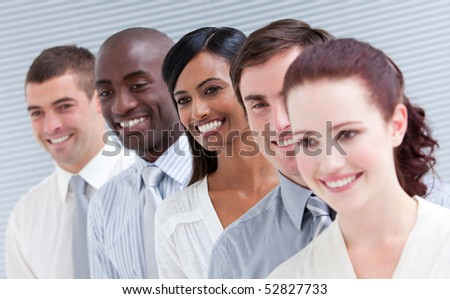 Positive customer sale service team looking at the camera