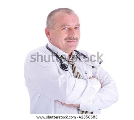 Positive elderly male doctor in characteristic clothes