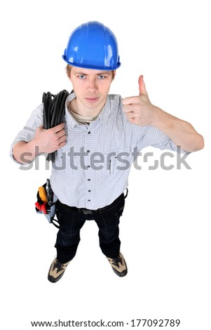 Positive electrician - stock photo