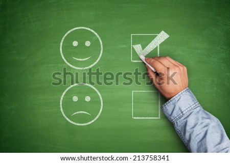 Positive Feedback on green blackboard white - stock photo