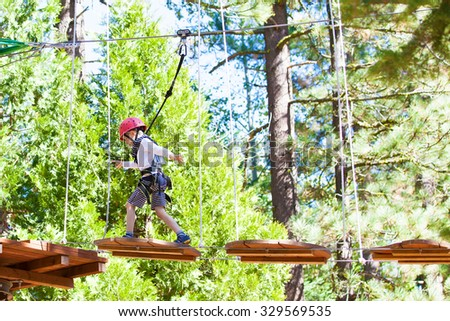 positive little boy climbing at outdoor treetop adventure park being active and healthy