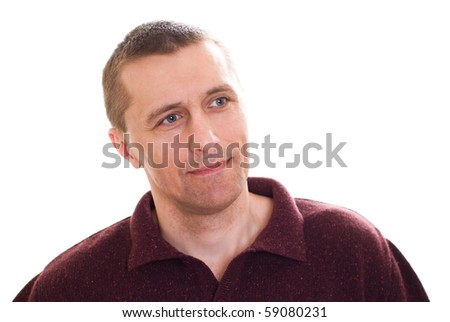 positive man standing on white background