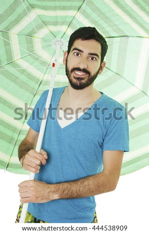 Positive man with colorful parasol. Isolated on white background.