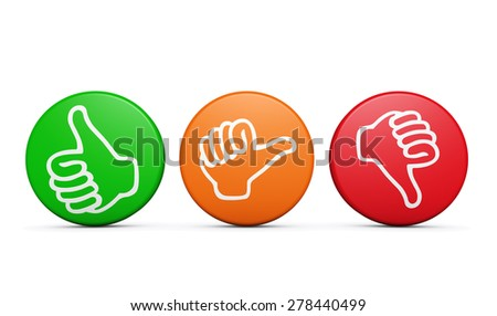 Positive, medium and negative customer satisfaction feedback, rating and survey buttons with thumb up and down icon on white background.