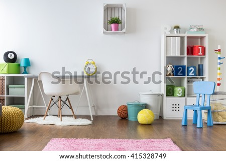 Positive minimalist and colorful room for kids and teenagers - stock photo