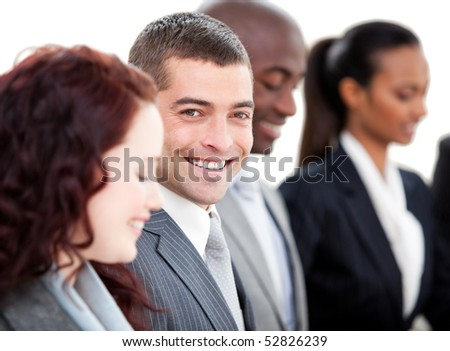 Positive multi-ethnic business people in a meeting against a white background