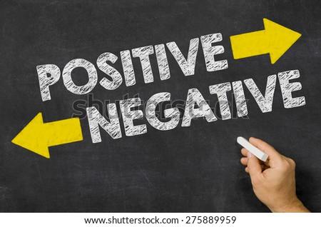 Positive or Negative written on a blackboard - stock photo