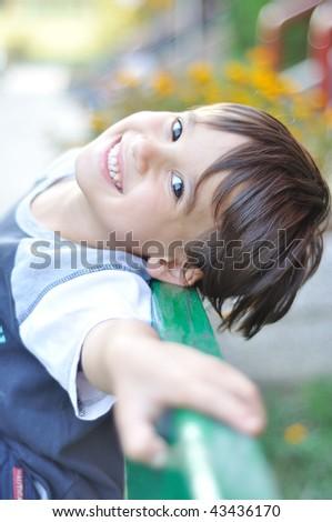 Positive smiling kid - stock photo