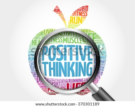 Positive thinking apple word cloud with magnifying glass, health concept - stock photo