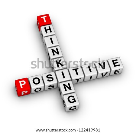 Positive thinking crossword puzzle - stock photo