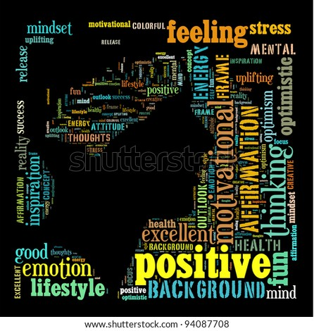 Positive thinking info text graphics and arrangement concept on black background.