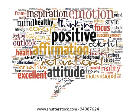 Positive thinking info text graphics and arrangement concept on white background. - stock photo