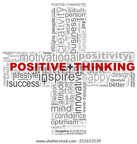 Positive thinking info-text graphics (word cloud) - stock photo