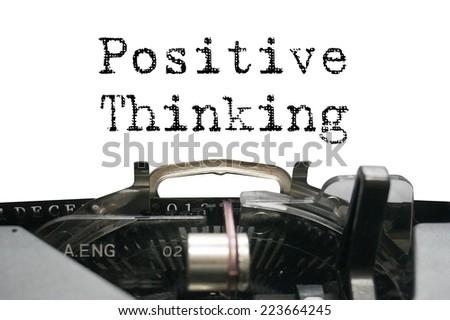 Positive thinking on typewriter - stock photo