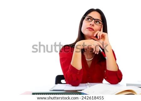 Positive thinking woman isolated on white background - stock photo
