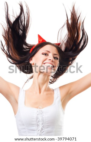 Positive woman falling with her hair fly, isolated on white - stock photo