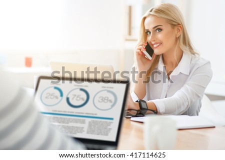Positive woman talking on cell phone    - stock photo