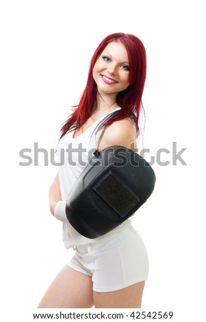 Positive woman with color hair and welder mask, isolated on white