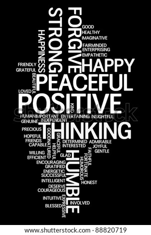 Positive words info-text graphics and arrangement concept on black background (word clouds) - stock photo