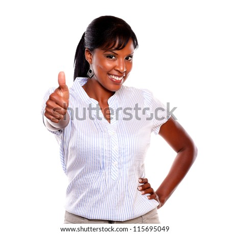 Positive young woman lifting the finger up on isolated background - stock photo