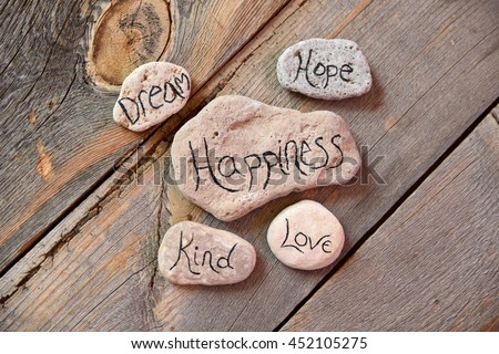 Positivity thrives with dreams, hope, happiness, kindness and love - stock photo