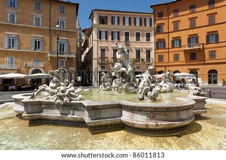 posseidon fountain , Navona square Rome - stock photo