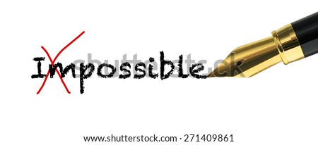 Possibility concept with golden fountain pen - stock photo