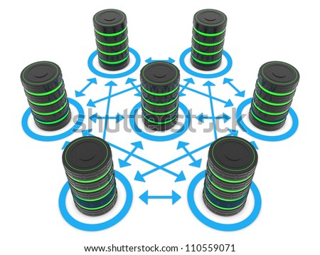 Possible connections between a data center servers - stock photo
