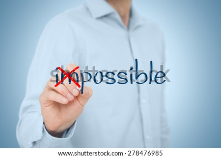 Possible or impossible? Businessman change negative think to positive.