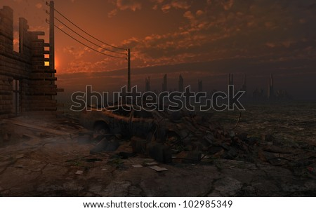Post-apocalyptic scenery with ruins - stock photo