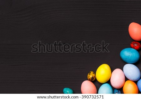 Post blog social media Easter. View from above with copy space. Banner template layout mockup for happy Easter. Black wooden table, top view on workplace. Have Yourself Happy Easter.  - stock photo