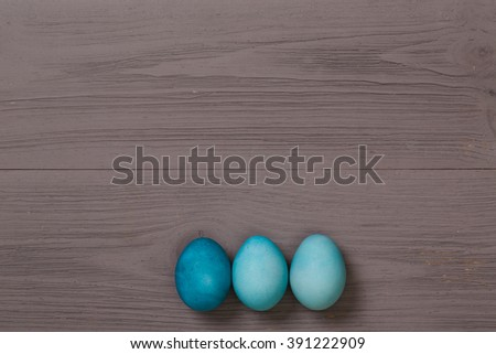 Post blog social media Easter. View from above with copy space. Banner template layout mockup for happy Easter. Gray wooden table, top view on workplace. Have Yourself Happy Easter.  - stock photo