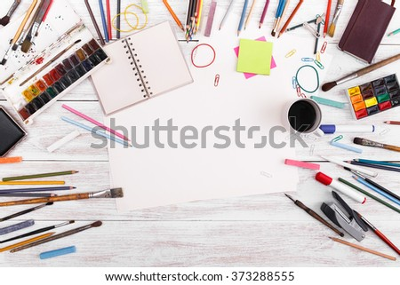 Post blog social media. View from above with copy space. Background for banner template layout mockup. White wooden table, top view on workplace. Desktop workplace designer, artist, painter top view. - stock photo