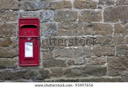 Post Box, English village - stock photo