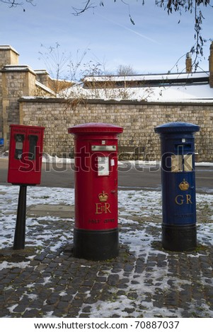 Post Boxes outside Windsor Castle. - stock photo